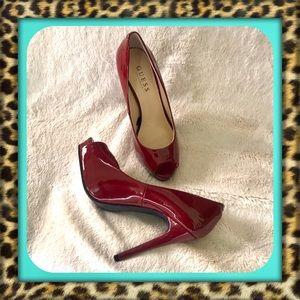 👑Dark Red Guess Patent Heels